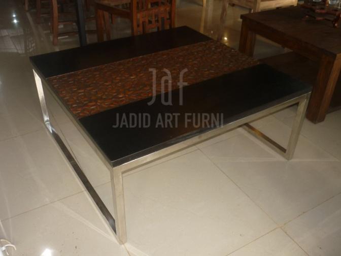meja kopi stainless dan kayu